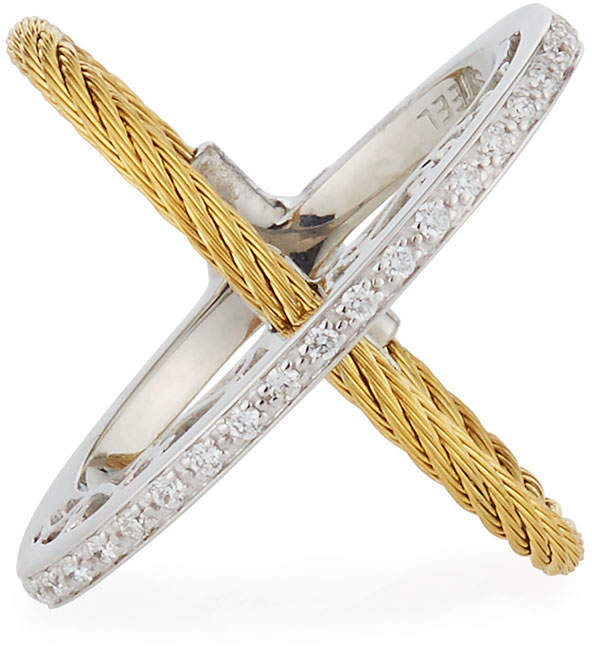 Alor Crisscross Diamond Cable Ring, Yellow, Size 7