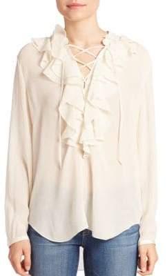 Theory Rianala Silk Ruffle Lace-Up Top