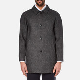 Folk Men's Clean Car Buttoned Overcoat Charcoal