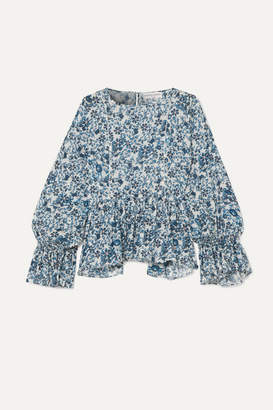 Apiece Apart Midnight Ruffled Floral-print Cotton-gauze Blouse - Navy