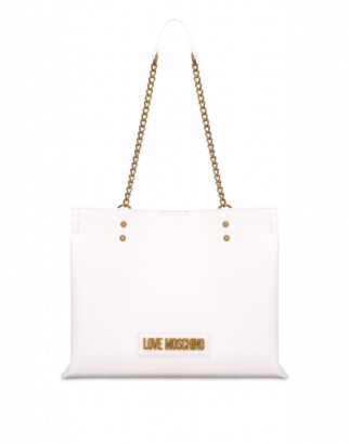 Love Moschino Shopper With Lettering Logo Woman White Size U It - (one Size Us)