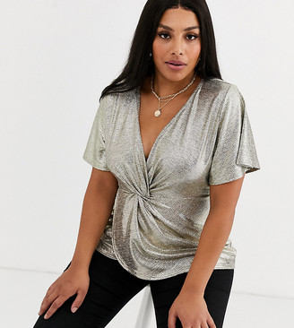 Simply Be knot front blouse in gold