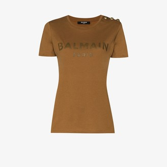 Balmain Logo print button T-shirt