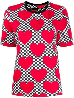 Love Moschino check heart print T-shirt
