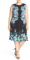 London Times Plus Size Women's Placed Floral Print Fit & Flare Dress