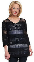 As Is Denim & Co. V-Neck 3/4 Sleeve Crochet Sweater