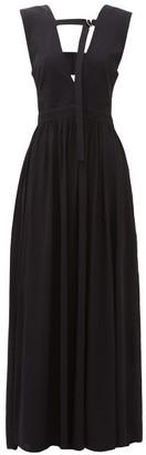 Proenza Schouler V Neckline Crepe Maxi Dress - Womens - Black