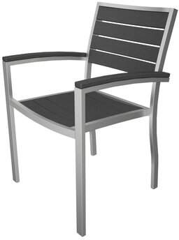 Polywood Euro Dining Arm Chair Finish: Textured Silver, Seat and Back Finish: State Gray