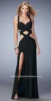 La Femme Criss Cross Cutout Prom Dress