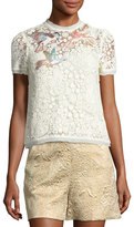 RED Valentino Hummingbird-Embroidered Lace Top, Ivory (Panna)