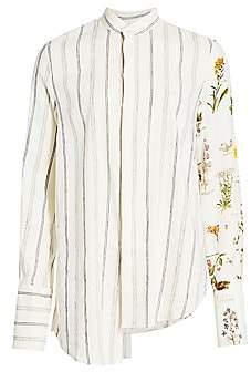 Monse Women's Asymmetric Botanical Stripe Shirt