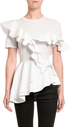 Alexander McQueen Silk Jersey Poplin Ruffled-Front Tee