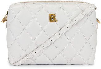 Balenciaga B Quilted Leather Camera Bag in White | FWRD