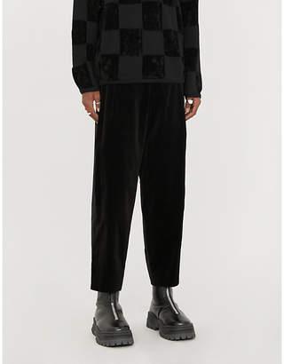 Comme des Garcons Side-stripe wide-leg velvet trousers
