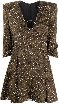Versace Leopard-Print Flared Mini Dress