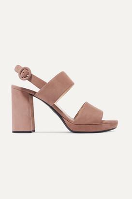 Prada 95 Suede Platform Slingback Sandals - Taupe
