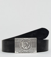 Diesel B-labb Belt In Leather With Plaque Buckle