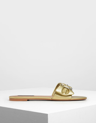 Charles & Keith Ruched Two-Tone Buckle Slide Sandals
