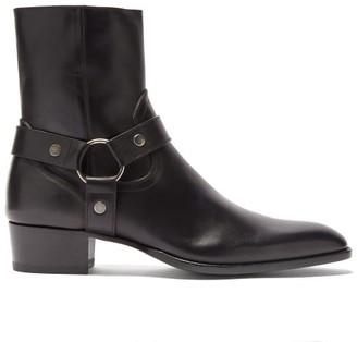 Saint Laurent Wyatt Point-toe Leather Boots - Black