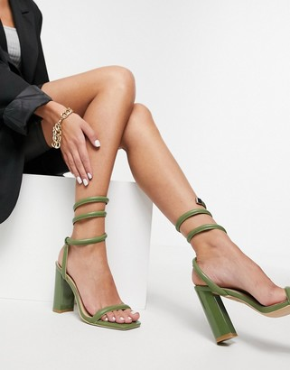 Simmi Shoes Simmi London Tour block heeled sandals with ankle wrap in olive