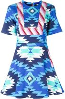 House of Holland Aztec print flared dress - women - Cotton/Spandex/Elastane - 10