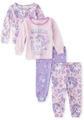 The Children's Place Baby & Toddler Girls Long Sleeve Snug Fit Cotton Pajamas, 4-Piece Set