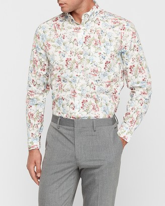 Express Slim Soft Wash Painted Floral Print Button-Down Shirt