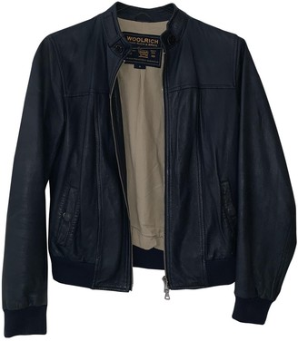 Woolrich Navy Leather Jackets