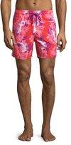 Vilebrequin Moorea Gecko-Print Swim Trunks, Pink