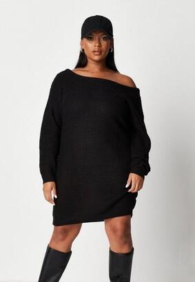 Missguided Plus Size Black Waffle Stitch Off Shoulder Sweater Dress