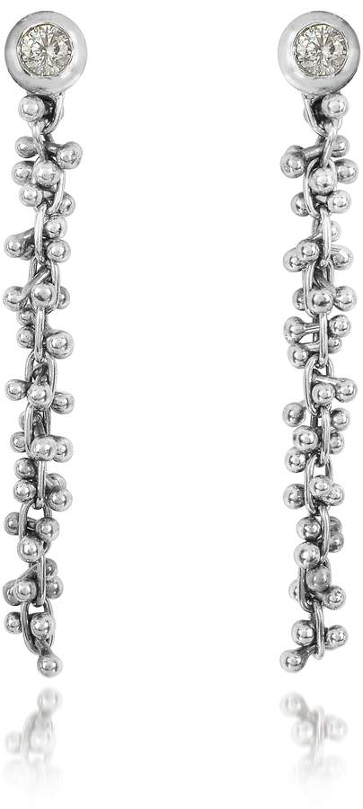 Orlando Orlandini White Gold Cascade Drop Earrings w/Diamond