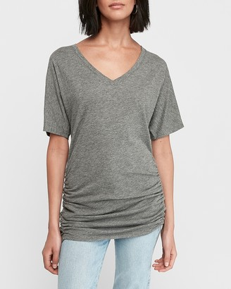 Express Ruched Side Dolman Sleeve V-Neck Tee
