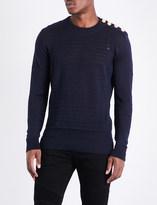 Balmain Mariniere relief linen knitted jumper