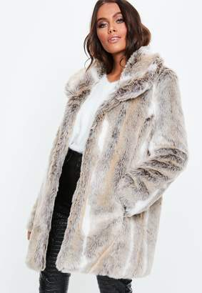 Missguided Nude Shawl Collar Faux Fur Coat
