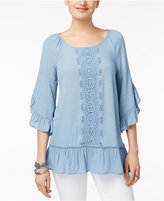 Style&Co. Style & Co Ruffled Lace-Trim Top, Only at Macy's