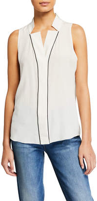 Frame Contrast-Piped Silk Notched-Collar Blouse