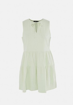 Missguided Mint Textured Sleeveless Tiered Smock Dress