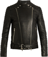 Balmain Collarless grained-leather biker jacket
