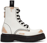 Thumbnail for your product : R 13 White & Tan Stacked Platform Boots