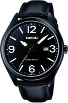 Casio Mens Black Leather Strap Watch MTP1342L-1B1
