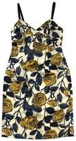 Milly Cream Yellow & Blue Silk Floral Sleeveless Dress