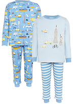 John Lewis Children's New York City Pyjamas, Pack of 2, Blue/Multi