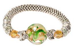 Murano LJ Accessories L&J Accessories Silvertone with Green Glass Stretch Bracelet