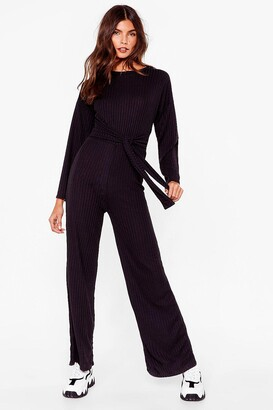 Nasty Gal Womens Ribs Down to You Belted Jumpsuit - Black - S/M, Black