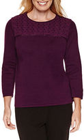 Alfred Dunner Long Sleeve Crew Neck Pullover Sweater