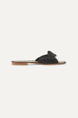 Carrie Forbes Naima Woven Raffia Slides - Black
