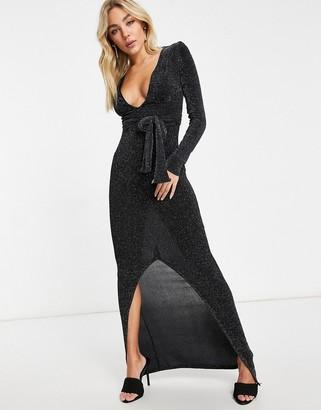 Club L London plunge glitter maxi dress in black
