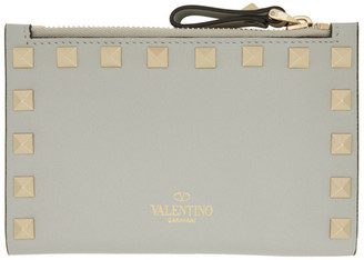 Valentino Green Garavani Rockstud Coin Purse Card Wallet