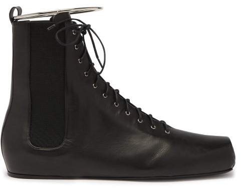 Jil Sander Combat Ring Detail Lace Up Leather Boots - Womens - Black