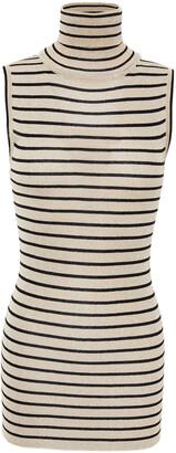 Brunello Cucinelli Metallic Striped Knitted Turtleneck Top